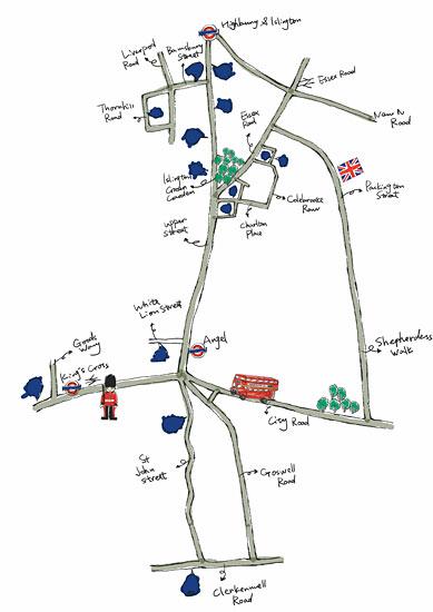 蜜月伦敦的慢行购物手绘图