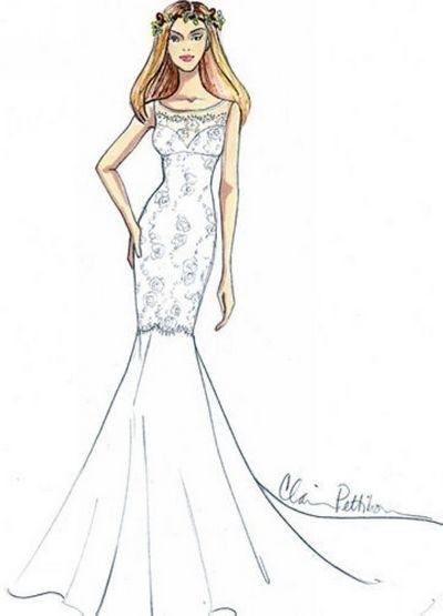 珍妮弗·安妮斯顿婚纱设计稿-新娘礼服-婚嫁百科-婚前