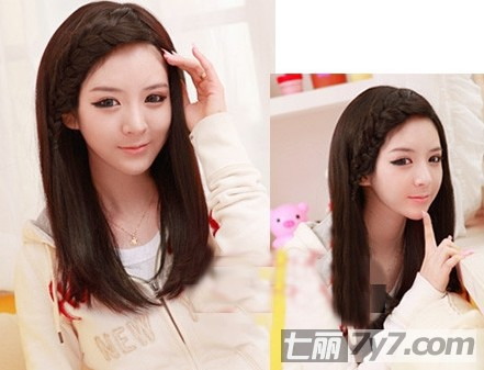可爱编发刘海扎发发型 漂亮满分惹人爱-长发发型-美容