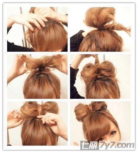 减龄蝴蝶结发型扎法 人见人爱中短发发型