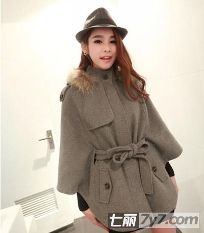 初中冬天穿外套好看腹部毛呢胖人显瘦又斗篷外套女生图片图片