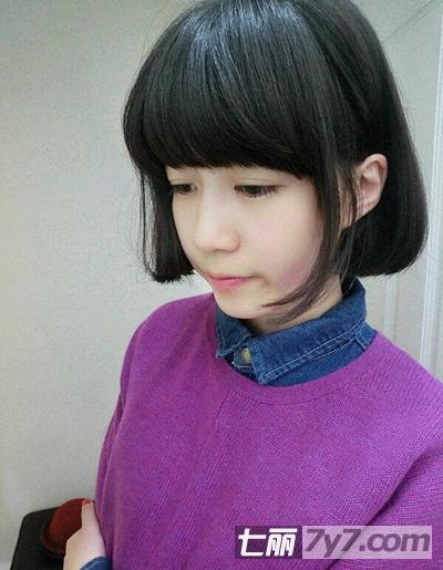 2014日系可爱少女风短发 圆脸大脸女生必看发型