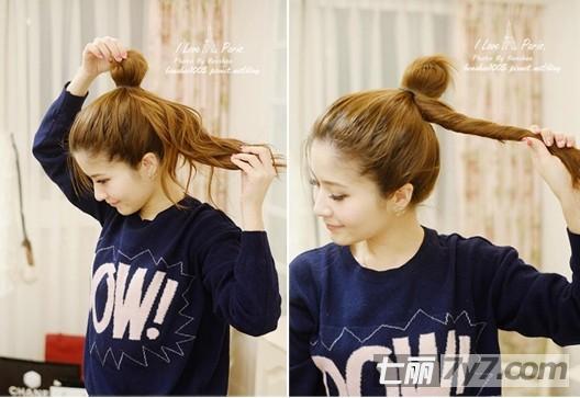韩范儿丸子头发型 超简单教程轻松学