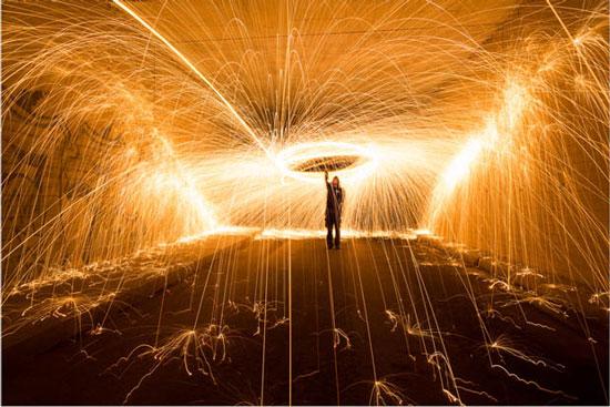 光影涂鸦-利用燃烧中的钢丝棉拍出漫步流星雨